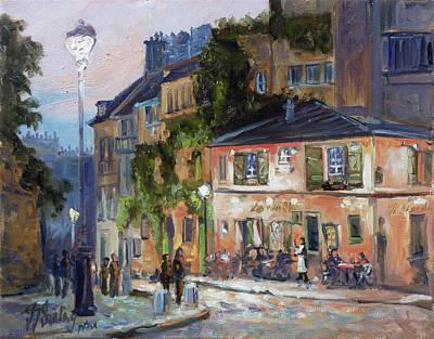 Evening Lights Painting - Montmartre, Paris by Irek Szelag