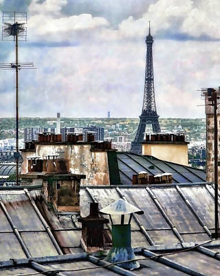 Sacre Coeur Photograph - Montmartre Rooftop by Jim Hill