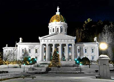 Montpelier Christmas Eve Night Art Print