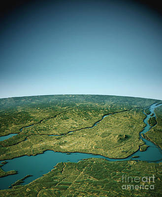 Cartography Digital Art - Montreal 3d View South-north Natural Color by Frank Ramspott