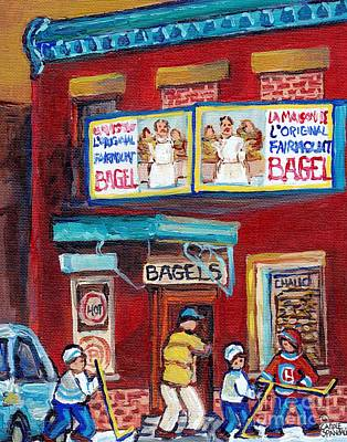 Painting - Montreal Art Fairmount Bagel Paintings For Sale Canadian Hockey Street Scene C Spandau Quebec Artist by Carole Spandau