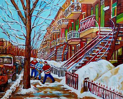 Painting - Montreal Art Winter Staircase Scenes Hockey Art Painting For Sale C Spandau Canadian Street Scenes   by Carole Spandau