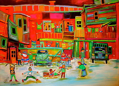 Litvack Naive Painting - Montreal Backlane Winter Sports by Michael Litvack