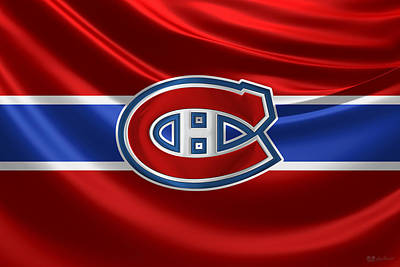 Digital Art - Montreal Canadiens - 3 D Badge Over Silk Flag by Serge Averbukh