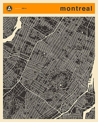 Montreal City Map Art Print