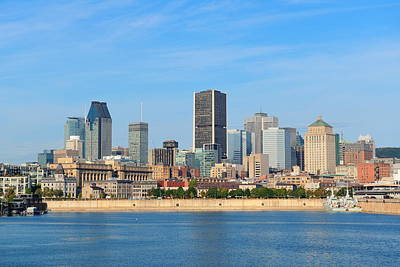 Photograph - Montreal City Skyline Over River  by Songquan Deng