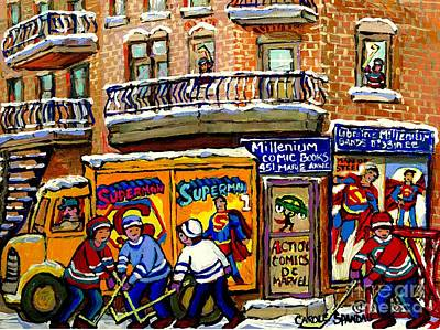 Painting - Montreal Comic Book Shop Librarie Millenium Hockey Art Superman Comics Winter Snow Scene Painting by Carole Spandau