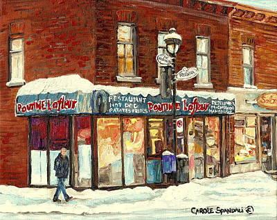 Montreal Corner Poutine Lafleur Street Hockey Winter Scene Canadian Art For Sale Carole Spandau      Art Print by Carole Spandau