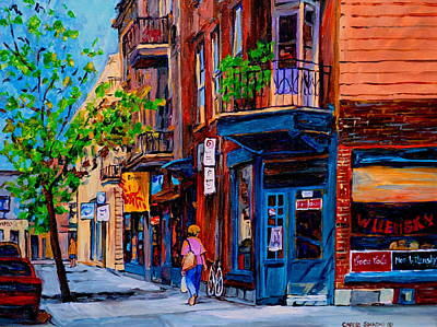 Store Fronts Painting - Montreal Depanneurs by Carole Spandau