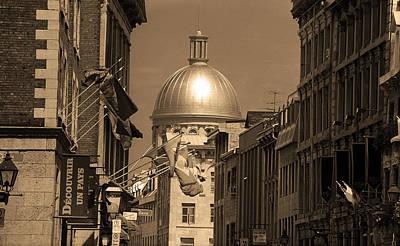 Old Montreal Photograph - Montreal Dome Of Marche Bonsecours Sepia by Frank Romeo