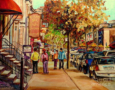 Montreal Memories. Painting - Montreal Downtown  Crescent Street Couples Walking Near Cafes And Rstaurants City Scenes Art    by Carole Spandau
