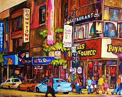 Painting - Montreal Downtown Payless Store St Catherine Street Busy Street With Stores And People City Scenes by Carole Spandau