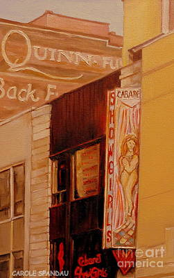 Montreal Buildings Painting - Montreal Downtown Vintage Sign  Showgirl Marquee Ghost Sign Old Buildings Art Carole Spandau         by Carole Spandau