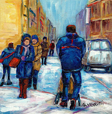 Montreal Downtown Winter Scene With  Man Pushing Baby Carriage Canadian Painting Original