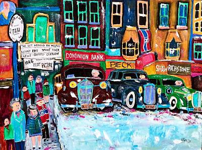 Taxi Stands Painting - Montreal  Downtown Winter Traffic 1946  by Michael Litvack