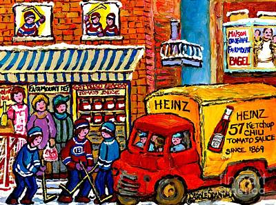Grocer Painting - Montreal Gattuso Grocer Rue Fairmount Street Hockey Game Heinz Ketchup Delivery Truck Carole Spandau by Carole Spandau
