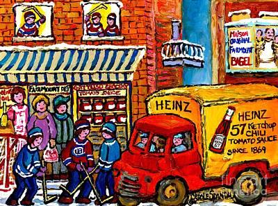 Hockey Fans Painting - Montreal Gattuso Grocer Rue Fairmount Street Hockey Game Heinz Ketchup Delivery Truck Carole Spandau by Carole Spandau