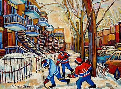 Kids Playing Hockey Painting - Montreal Hockey Game With 3 Boys by Carole Spandau