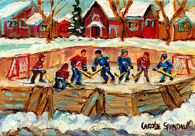 Montreal Winter Scenes Painting - Montreal Hockey Rinks Urban Scene by Carole Spandau