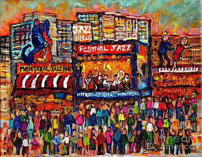 Painting - Montreal International Jazz Festival Painting Live Jazz Band Outdoor Music Concert Scene C Spandau  by Carole Spandau