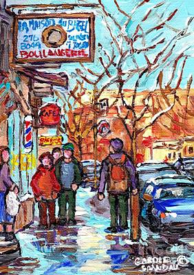 Painting - Montreal Landmark Marquee St Viateur Bagel Sign Snowy Winter Walk Canadian Artist Carole Spandau     by Carole Spandau