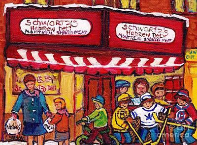 Painting - Montreal Landmarks For Sale Schwartz's Deli Winterscenes Hockey Art For Sale by Carole Spandau