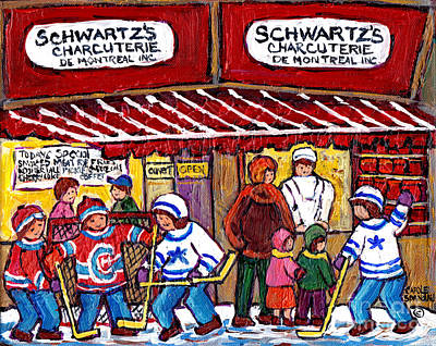 Painting - Montreal Landmarks Schwartz 's Deli Painting For Sale Canadian Winterscene Hockey Art C Spandau     by Carole Spandau