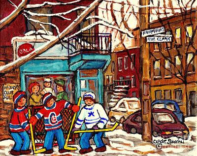 Painting - Montreal Landmarks Wilensky Deli Paintings For Sale Canadian Winterscenes Hockey Art C Spandau by Carole Spandau