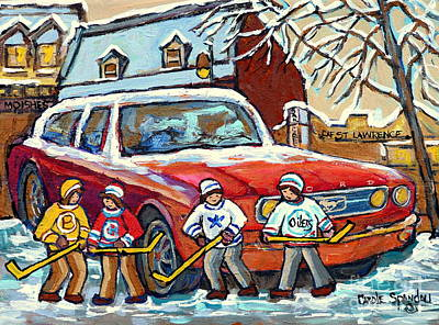 Painting - Montreal Landmarks Winterscenes For Sale Hockey Game Across Moishe's Restaurant C Spandau Artist     by Carole Spandau
