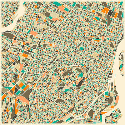 Abstract Map Digital Art - Montreal Map by Jazzberry Blue
