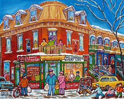 Painting - Montreal Memories Corner Store Bakery Homemade Pizza Peloponissos  Neighborhood Street Life  by Carole Spandau