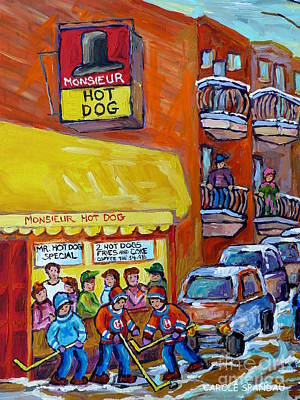 Mr. Hockey Painting - Montreal Memories Favorite Hot Dog Diner Mr Hot Dog Canadian Winter Scene Hockey Art Carole Spandau  by Carole Spandau