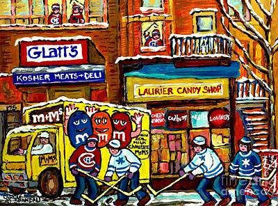 Hockey Painting - Montreal Memories Jewish Street Glatt's Kosher Laurier Candy Shop Canadian Hockey Art Carole Spandau by Carole Spandau