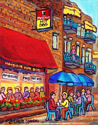 Painting - Montreal Memories Mr Hot Dog Sidewalk Cafe Scene Colorful Umbrellas Logo And Landmark Carole Spandau by Carole Spandau