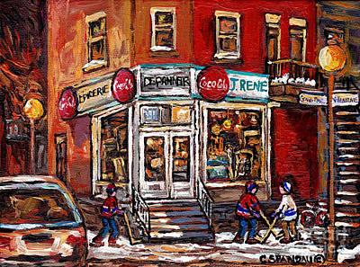Painting - Montreal Night Scene Street Hockey Painting Depanneur J Rene Rue Villeneuve And Grand Pre Best Art by Carole Spandau