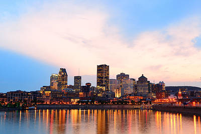 Photograph - Montreal Over River At Sunset by Songquan Deng
