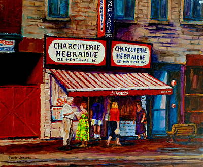Jewish Montreal Painting - Montreal Paintings  Available For Fundraisers By Streetscene  Artist Carole Spandau  by Carole Spandau