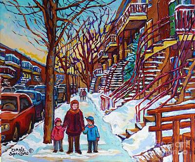 Painting - Montreal Paintings Staircase Scenes For Sale Winter Stroll Verdun To Plateau Mont Royal Winter Scene by Carole Spandau