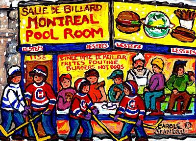 Montreal Pool Room Fast Food Restaurant Painting Canadian Winter Scenes Hockey Art Carole Spandau    Original by Carole Spandau