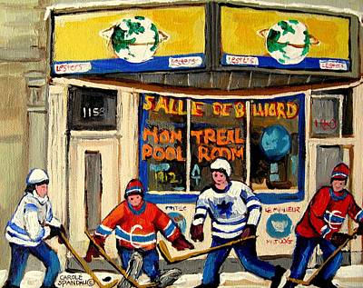 Montreal Restaurants Painting - Montreal Poolroom Hockey Fans by Carole Spandau