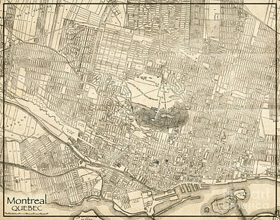 Old Montreal Photograph - Montreal Quebec Antique Vintage City Map by ELITE IMAGE photography By Chad McDermott