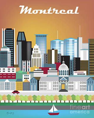 Montreal Buildings Digital Art - Montreal Quebec Canada Vertical Skyline by Karen Young