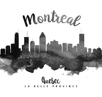 Quebec Cities Painting - Montreal Quebec Skyline 18 by Aged Pixel