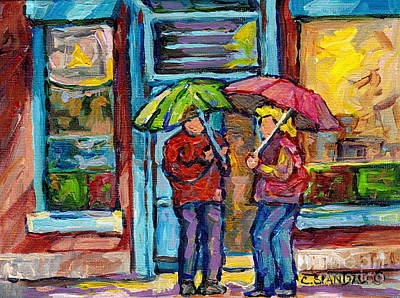 Painting - Montreal Rainy Day Paintings April Showers Umbrella Conversation At Wilensky's Deli C Spandau Quebec by Carole Spandau