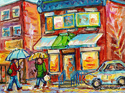 Painting - Montreal Rainy Day Paintings Fairmont Bagel Shop April Showers Umbrellas Canadian Art C Spandau      by Carole Spandau