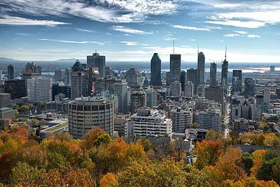 Photograph - Montreal Skyline And Foliage by Steven Richman