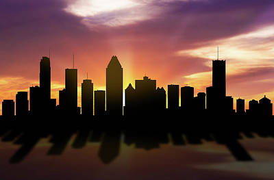 Montreal Cityscapes Digital Art - Montreal Skyline Sunset Caqcmo22 by Aged Pixel