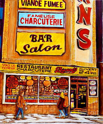 Montreal Restaurants Painting - Montreal Smoked Meat Dunns Restaurant by Carole Spandau