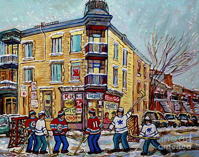 Painting - Montreal Snowy Winter Scene Laurier Bbq Hockey Game Art Canadian Paintings Carole Spandau            by Carole Spandau