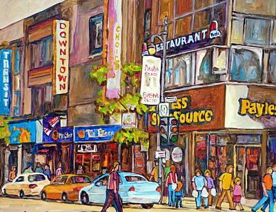 Steer Painting - Montreal St.catherine Street Corner Peel by Carole Spandau